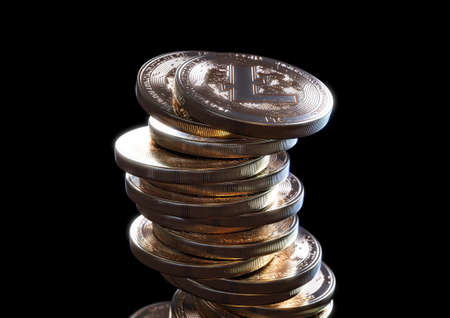 A crumbling and falling stack of gold physical litecoin coins on a dark background - 3D render 免版税图像