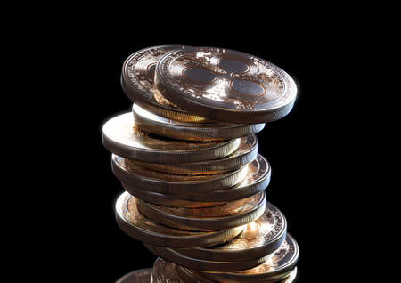 A crumbling and falling stack of gold physical ripple coins on a dark background - 3D render