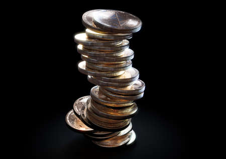 A crumbling and falling stack of gold physical ethereum coins on a dark background - 3D render 免版税图像