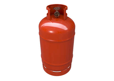 An unbranded metal gas cylinder with a bronze valve on an isolated white background - 3D render