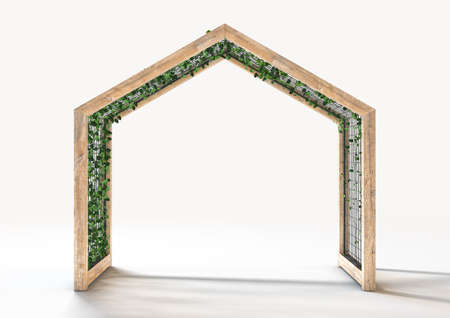 A concept of a wooden archway with metal trellis and a creeper plant intertwined in it - 3D render 免版税图像