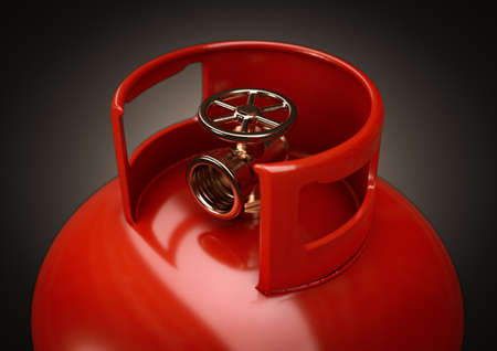 A closeup of the valve of an unbranded metal gas cylinder on a dark background - 3D render