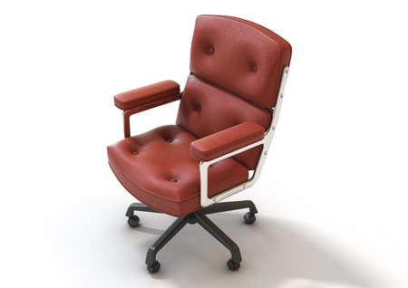 A fancy chrome office chair with cushioning covered in red leather on an isolated white studio background - 3D render