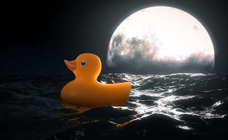 A surreal concept showing a rubber duck on a turbulent surface of water in front of a full moon on the horizon at night - 3D render 免版税图像