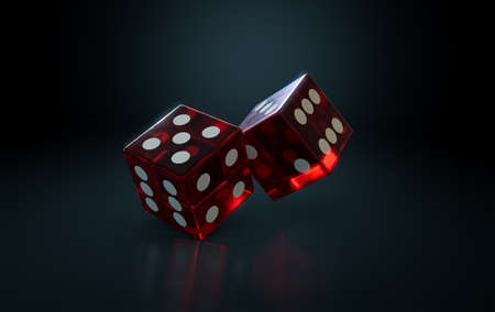 A pair of transparent red casino dice with white markings in action rolling on a dark isolated background - 3D render