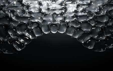 A cross section scientific view of eperdermis cells sub layer with water bubble molecules in between on an isolated dark background - 3D render