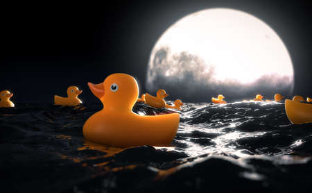 A surreal concept showing a collection of rubber ducks on a turbulent surface of water in front of a full moon on the horizon at night - 3D render