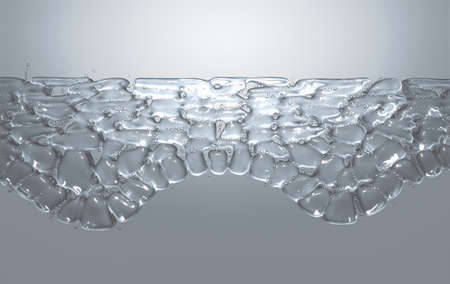 A cross section scientific view of eperdermis cells sub layer with water bubble molecules in between on an isolated background - 3D render