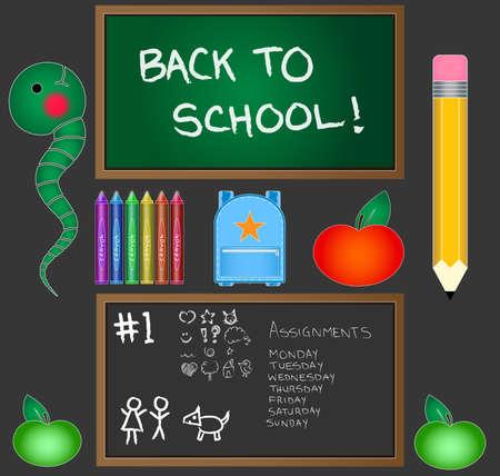 bookworm: Back to School Vector Set Illustration