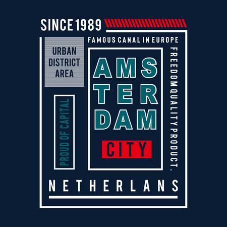 amsterdam city images typography vector illustration for t shirt concept design