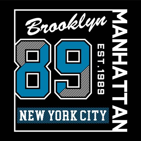 Brooklyn New York City Manhattan typography design tee, vector illustration concept slogan idea for graphic t shirt - Vector 写真素材 - 129777530