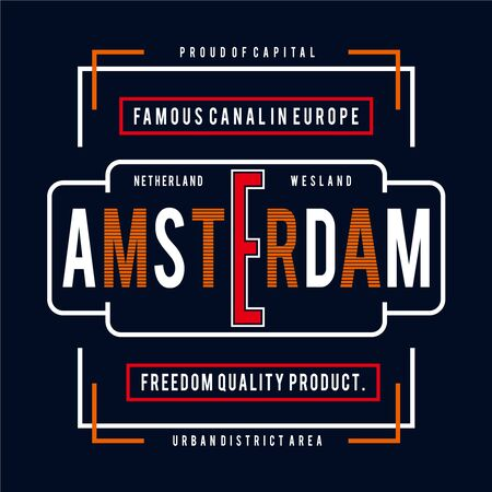 Amsterdam city typography design tee for  t shirt print other uses, vector illustration - Vector 向量圖像