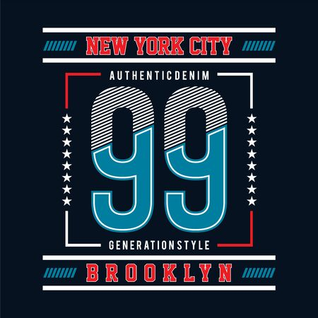 ninety-nine with new york city typographic design vector lines art - Vector