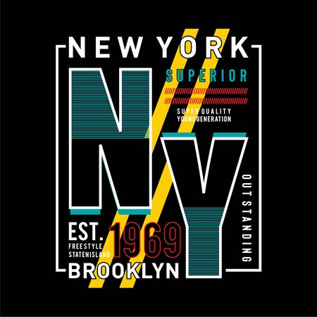 NY Brooklyn Typography Design, T-shirt Graphic, Vector Images  イラスト・ベクター素材