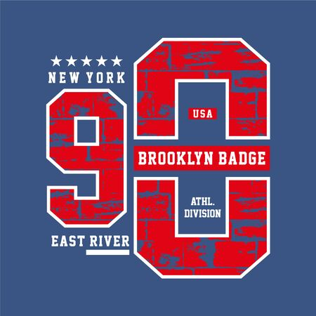 Varsity style, New York Brooklyn athletic sport typography for t shirt print,Vector  イラスト・ベクター素材