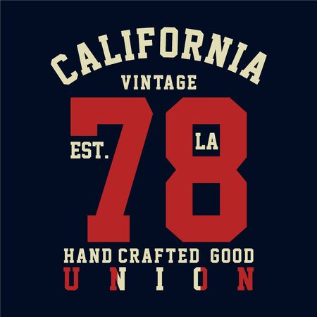 california vintage typography t-shirt graphics, vector illustration Vector