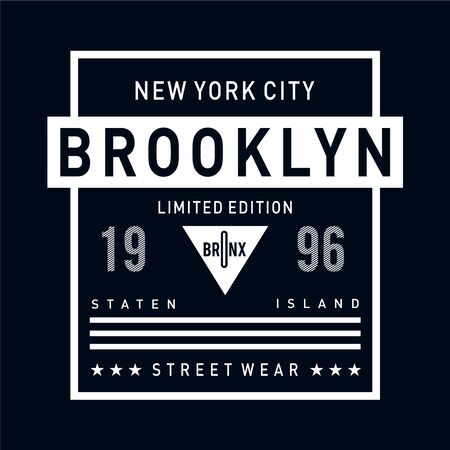 new york city brooklyn typography design for t-shirt, Vector illustration -Vector  イラスト・ベクター素材