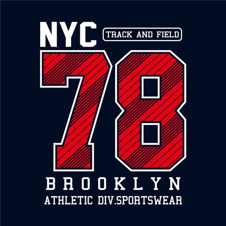Athletic sport New York City Brooklyn typography for t shirt print and other uses, vector