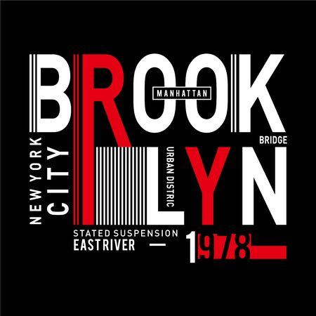 Design vector typography brooklyn for t shirt template with color red and white