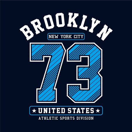 Athletic Brooklyn New York City typography design for t-shirt print other uses, vector