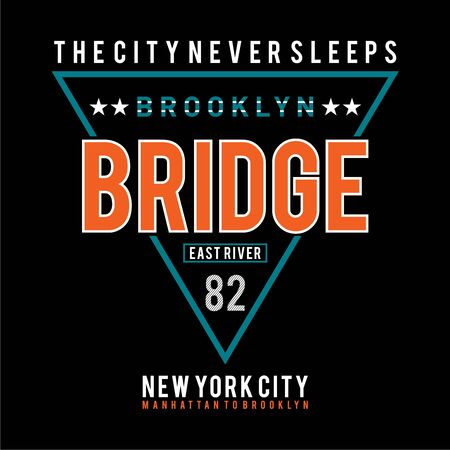 Vector illustration on the theme of New York City, Brooklyn. .Typography, t-shirt graphics, poster, print, banner, flyer, postcard  イラスト・ベクター素材