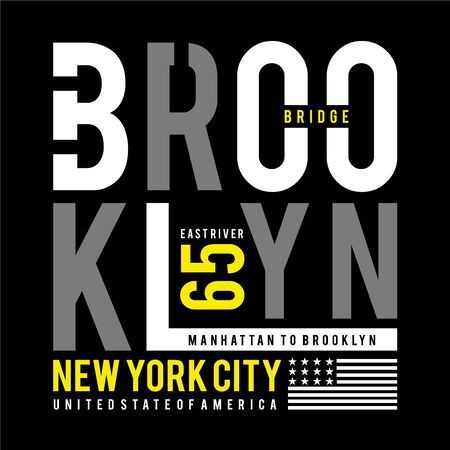 brooklyn bridge typography design tee,for t-shirt,vector illustration