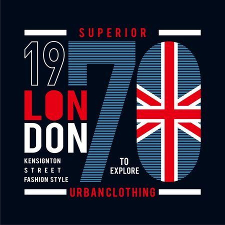 superior london typography design for t shirt - vector illustration