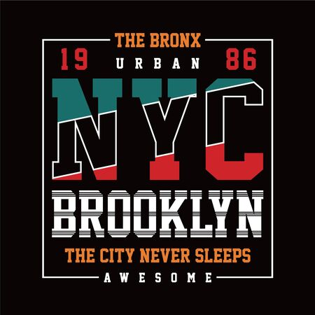 New York Brooklyn Typography Design, T-shirt Graphic, Vector Images - Copy