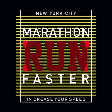 Athletic sport marathon increase your speed typography, t-shirt graphics, vectors  イラスト・ベクター素材