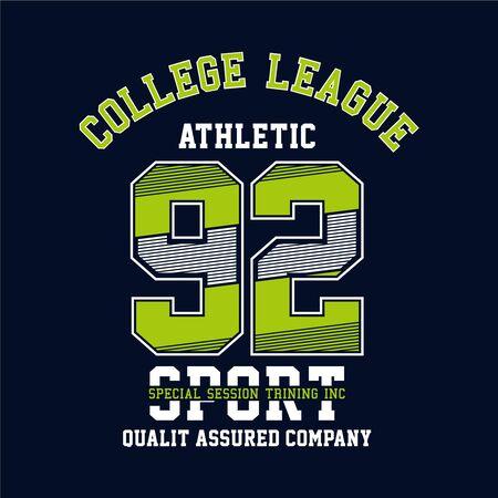Athletic sport typography stamp, vintage sport wear design illustration - Vector