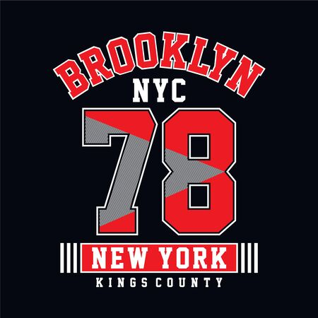 College Brooklyn typography, t-shirt graphics, vectors - Vector