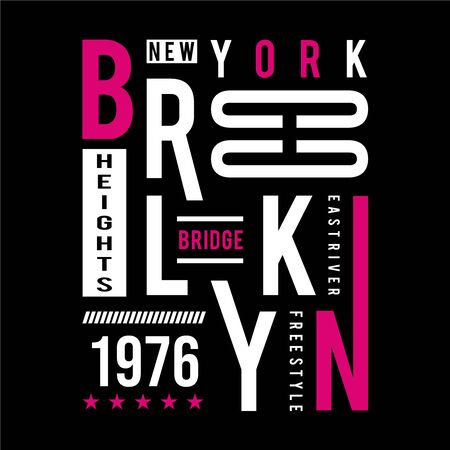 brooklyn - bridge typography design for t-shirt, Vector illustration -Vector