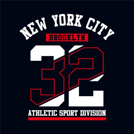 Athletic Brooklyn New York City typography design for tshirt print. Sports, athletic t-shirt graphics, vector image illustrations