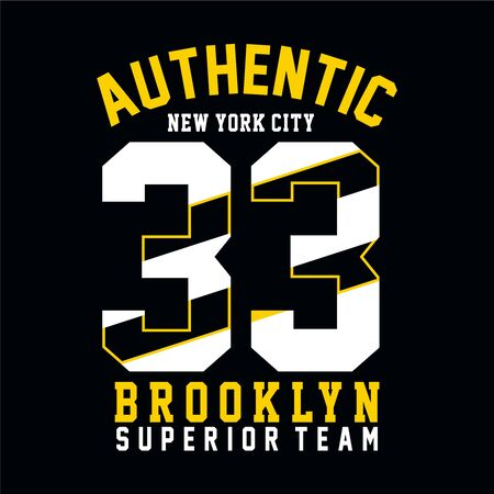 New york city t-shirt, Brooklyn graphic, sport emblem design, graphic Print label - Vector Ilustração