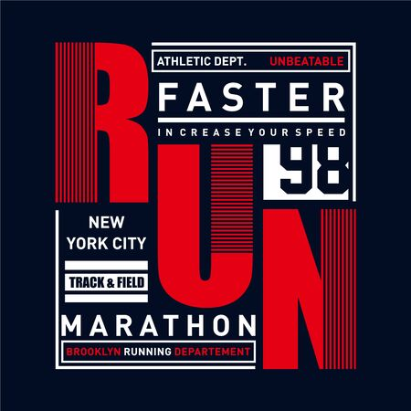 Vector illustration on a theme of marathon and running in New York City, Brooklyn. Sport typography, t-shirt graphics, poster, print, run, banner, flyer, postcard - Vector Ilustração