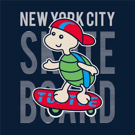 cool skater Turtle character design - Vector 向量圖像