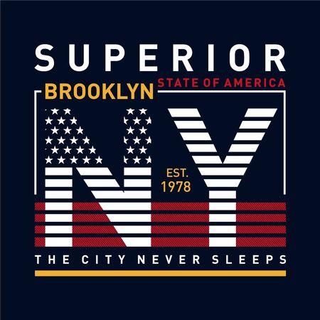 NY Brooklyn Typography Design, T-shirt Graphic, Vector Images Illusztráció