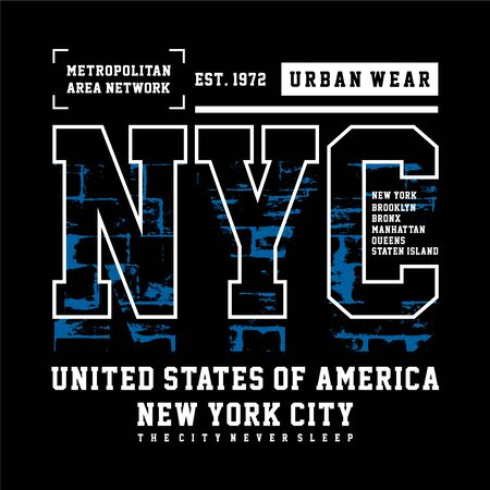 Typography Design New York City , T-shirt Graphic, Vector Images