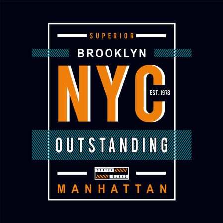 brooklyn,manhattan graphic typography t shirt, vector illustration modern printed - Vector