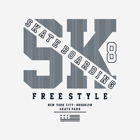 Vector illustration on the theme of skateboarding and skateboard in New York City. Vintage design. Grunge background. Typography, t-shirt graphics, print, poster, banner, flyer, postcard - Vector Çizim