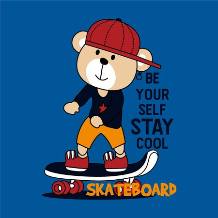 Skaterboard Bear vector illustration with cool slogans. For t-shirt prints and other uses 向量圖像