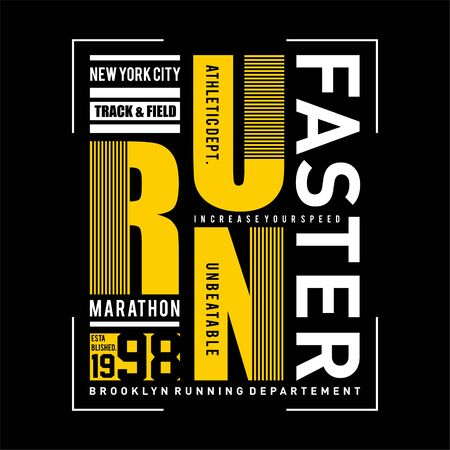 Vector illustration on a theme of marathon and running in New York City, Brooklyn. Sport typography, t-shirt graphics, poster, print, run, banner, flyer, postcard - Vector Çizim