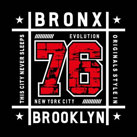 bronx typography tee graphic design for t-shirt,vector illustration Illustration