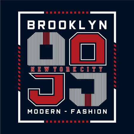 modern brooklyn typography design for t shirt, vector illustration - vector