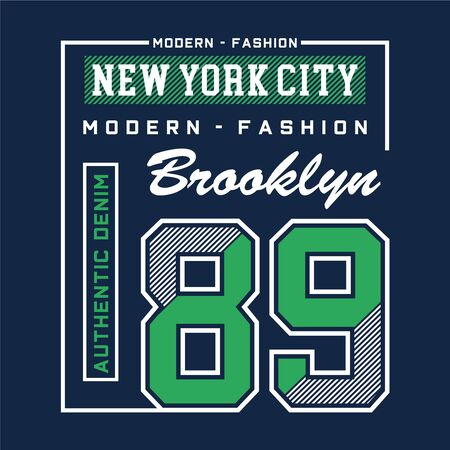brooklyn typography design tee for t shirt print and other uses , vector illustration