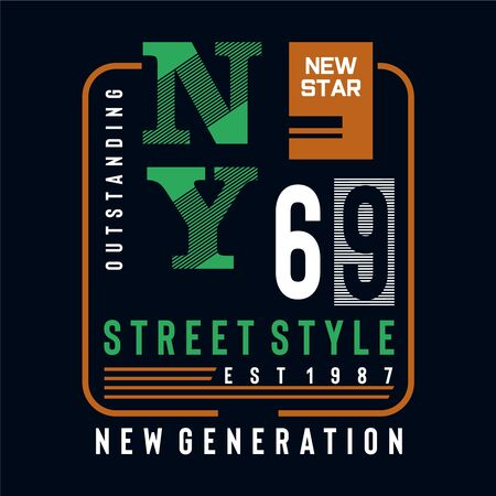 new york typography design tee for t shirt print and other uses,vector illustration Vettoriali
