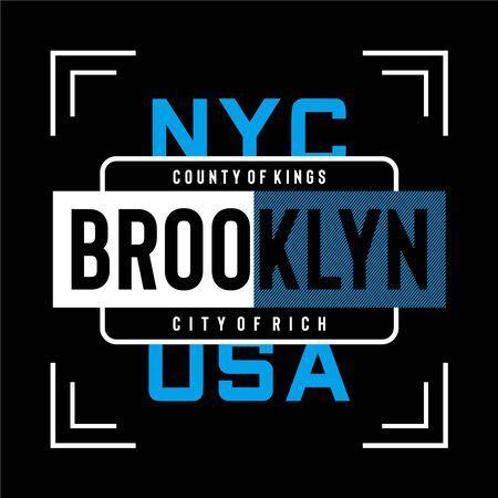 new york brooklyn typography design tee, vector illustration Vettoriali