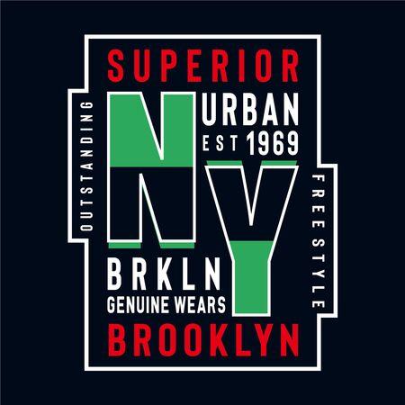 new york brooklyn typography design tee for t shirt,vector illustration Vettoriali