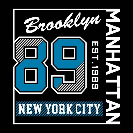 brooklyn new york city typography design tee, vector illustration