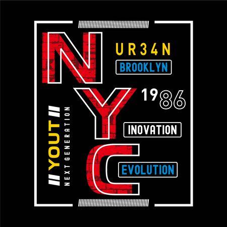 New York City Brooklyn typography design vector illustration for t shirt Illustration